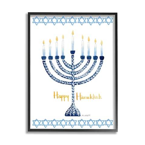 Stupell Industries Happy Hanukkah Winter Holiday Festive Menorah Framed Wall Art - Blue