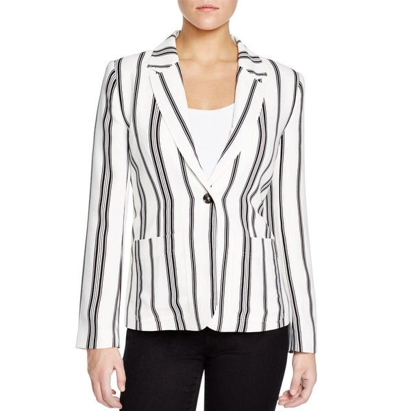Sanctuary Womens One-Button Blazer Striped Notch Lapel