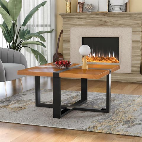 U-style Coffee Table With Crossed-shape Table Top and Wood Legs,37.4 Inch