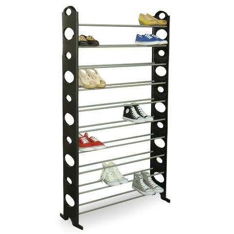 "Home Basics Black 50-Pair Metal Shoe Rack - 37"" x 8"" x 61"""