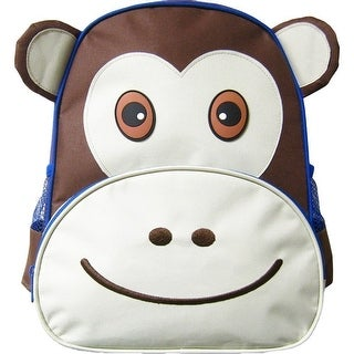 Kreative Kids Unisex Brown Monkey 3D Animal Side Mesh Pockets Backpack - One size