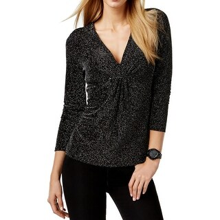 MICHAEL Michael Kors Womens Pullover Top Metallic Ruched