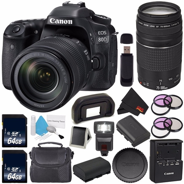 Canon EOS 80D DSLR Camera with 18-135mm Lens (Intl Version) + Canon EF 75-300mm f/4-5.6 III Lens Bundle