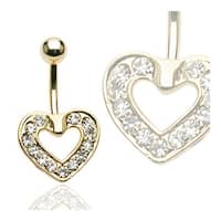 "Gold Plated Pave Heart Navel Belly Button Ring - 14GA 3/8"" Long"