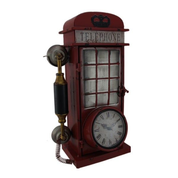 Antique Red Rotary Phone Booth Clock Key Cabinet - Antique Red Rotary Phone Booth Clock Key Cabinet - Free Shipping