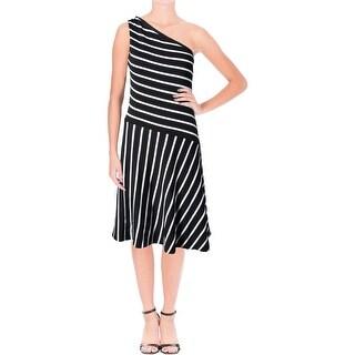 Lauren Ralph Lauren Womens Cocktail Dress Striped One Shoulder