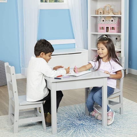 Melissa & Doug Wooden Table & Chairs - Gray