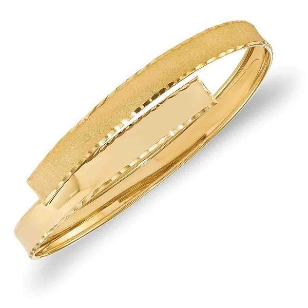 Italian 14k Gold Polished, Satin and Diamond Cut Slip-on Bangle