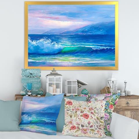 Designart 'Blue Waves Breaking At The Beach II' Nautical & Coastal Framed Art Print