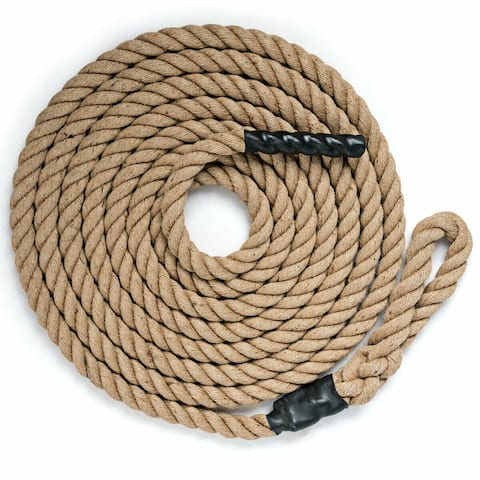 1.5 inch Gym Fitness Training Grips Strength Climbing Rope-12 ft - Brown