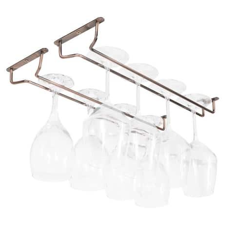 Wallniture Brix Stemware Wine Glass Rack Under Cabinet Storage Metal Glass Hanger (Set of 2)