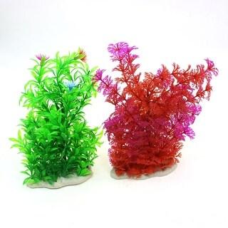 "Unique Bargains Aquarium 7.9"" Height Green Red Emulational Water Plants Ornament 2 Pcs"