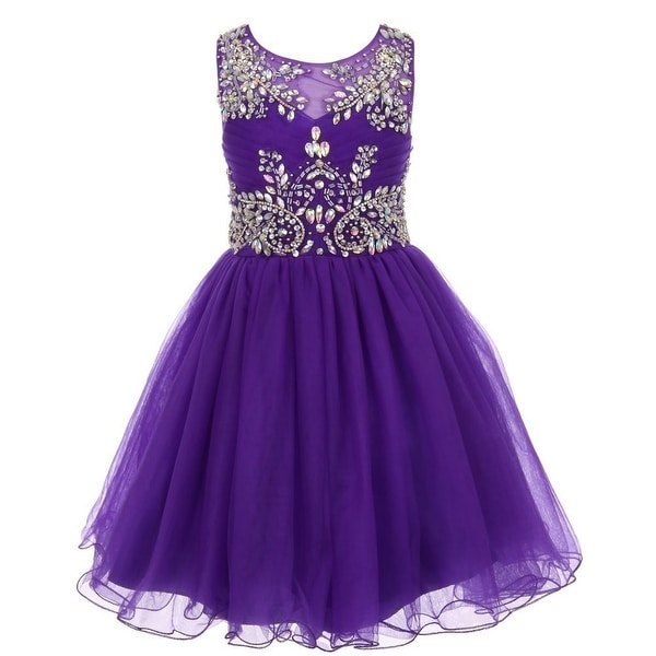 fbc2042b165 Shop Girls Purple Tulle AB Stone Wired Flower Girl Dress 8-16 - Free  Shipping Today - Overstock.com - 18171772