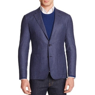 Hardy Amies Men's Brinsley Classic Fit Micro Check Sportcoat 40 Regular 40R Blue