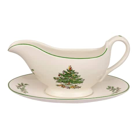 Spode Christmas Tree Gravy Boat & Stand - 9 Ounces
