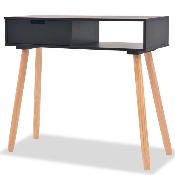 "vidaXL Console Table Solid Pinewood 31.5""x11.8""x28.3"" Black"