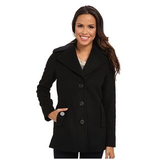 Calvin Klein Single-Breasted Peacoat in Black Medium