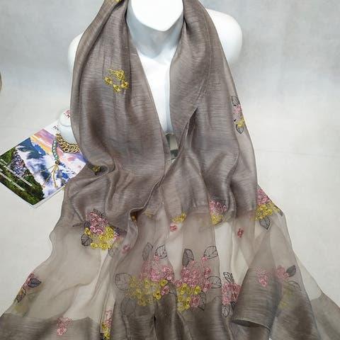 Silk Silk Color Embroidery Embroidery Silk Scarf