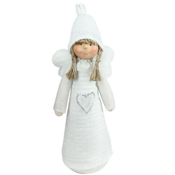 "14.5"" White Snowy Woodlands Girl Angel Christmas Tabletop Figure"