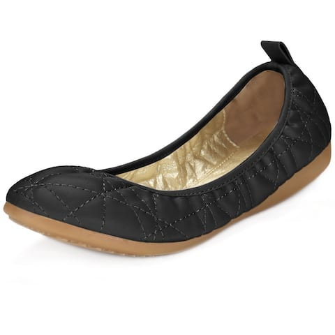 Women Rounded Toe Quilted Foldable Elastic Ballet Flats - Black