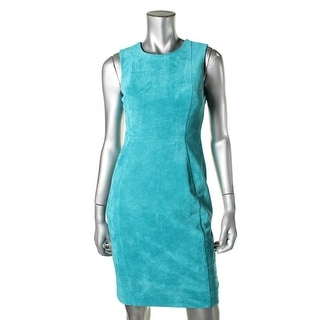 Calvin Klein Womens Petites Faux Suede Sleeveless Wear to Work Dress