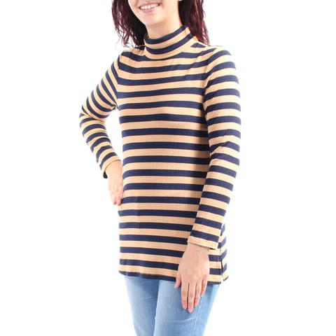 TOMMY HILFIGER Womens Brown Striped Long Sleeve Turtle Neck Top Size: L