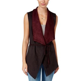 Jessica Simpson Womens Teegan Casual Vest Faux Suede Cut Out - m