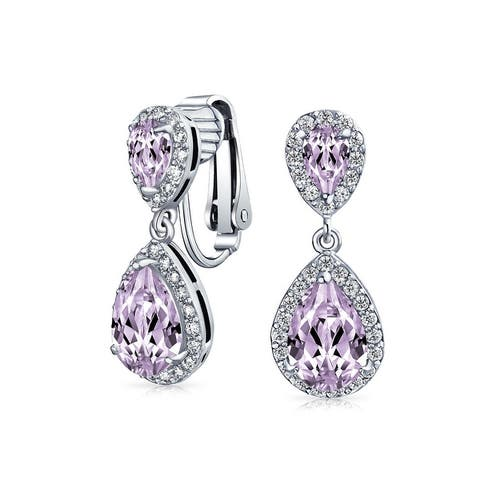 Teardrop CZ Halo Statement Clip On Earrings Silver Gold Plated