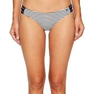 Hurley Women's Quick Dry Stripe Surf Bottoms White Swimsuit Bottom SZ: L