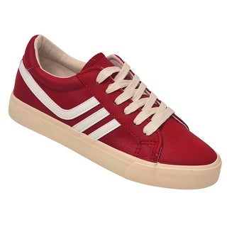 Anna Adult Red White Stripe Lace-Up Closure Trendy Sneakers