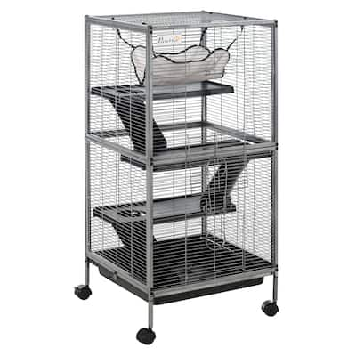 PawHut Rolling Small Animal Cage Pet Mink Chinchilla Small Cat Hutch Pet Play House with Platform, Ramp,Removable Tray - Grey