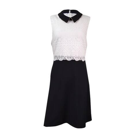 Jessica Simpson Women's Collared Lace Popover Dress - Black