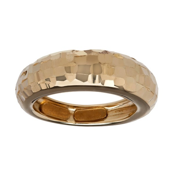 Just Gold Hammered Dome Ring in 10K Gold - Yellow