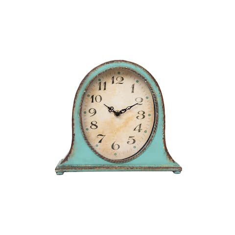 Metal Mantel Clock with Aqua Finish