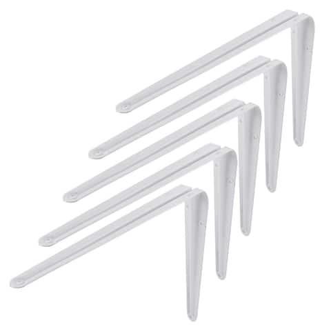Unique Bargains 12 Inch Long L Shape Baked Enamel Metal Wall Shelf Support Brackets 5 Pcs