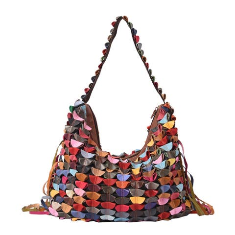 CHAOS BY ELSIE Multi Color Leather Convertible Tote Bag with Tassel - 21x15 inches