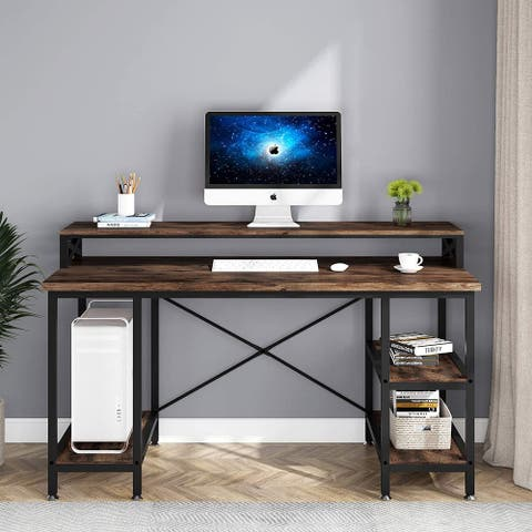 55 inch Computer Desk with Storage Shelves, Modern Study Writing Desk with Monitor Stand for Home Office