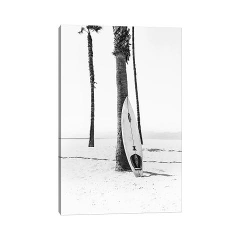 """iCanvas """"Surf Board In Black & White"""" by Sisi & Seb Canvas Print"""