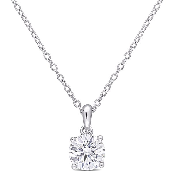 Miadora Sterling Silver 1ct TGW Created White Moissanite Solitaire Necklace. Opens flyout.