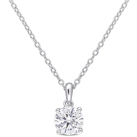 Miadora Sterling Silver 1ct TGW Created White Moissanite Solitaire Necklace