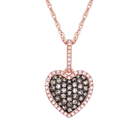 653cdca86ccb Prism Jewel 0.36Ct Brown Color Diamond with Diamond Heart Valentine Pendant  with Chain - White