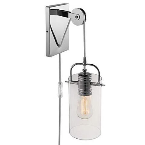 1 light plug in clear glass pulley wall sconce with chrome finish