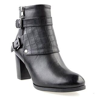 Eyekepper Women's Fashion Strappy Buckle Side Zipper-Up Chunky Heel Ankle Booties Black