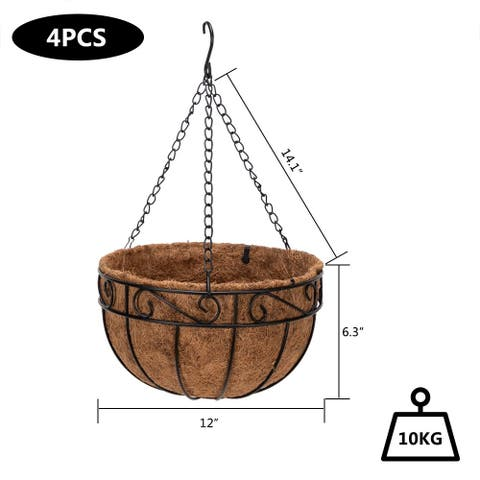 "10""-14"" Round Iron Frame Coconut Palm Plant Hangers Hanging Basket Set of 4"