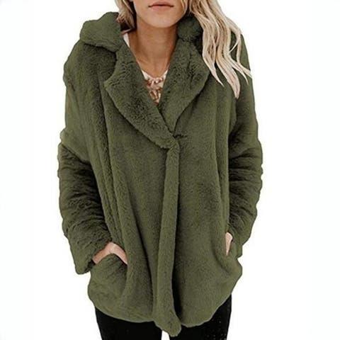 Women's Coat Casual Fleece Winter Oversized Outwear Jackets