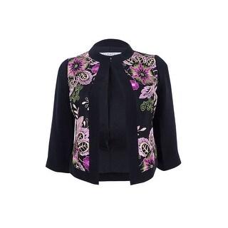Tahari ASL Women's Petite Embroidered Blazer - Black/Pink/Fuchsia