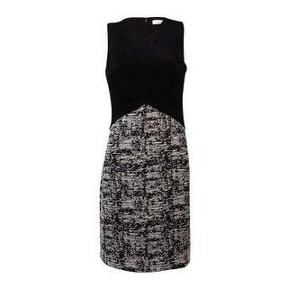 Calvin Klein Women\u0027s Faux Suede Wrap Cross Bodice Tweed Dress - Black Multi  (4 options