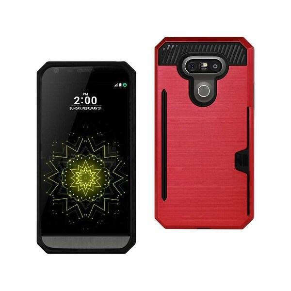 REIKO LG G5 SLIM ARMOR HYBRID CASE WITH CARD HOLDER IN RED