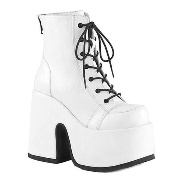 3ff4056bff9c Shop Demonia Women s Camel 203 Platform Ankle Boot White Vegan Leather -  Free Shipping Today - Overstock - 22165316