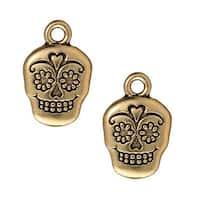 TierraCast 22K Gold Plated Pewter Dia De Los Muertos Sugar Skull Pendant Charm 19mm (1)